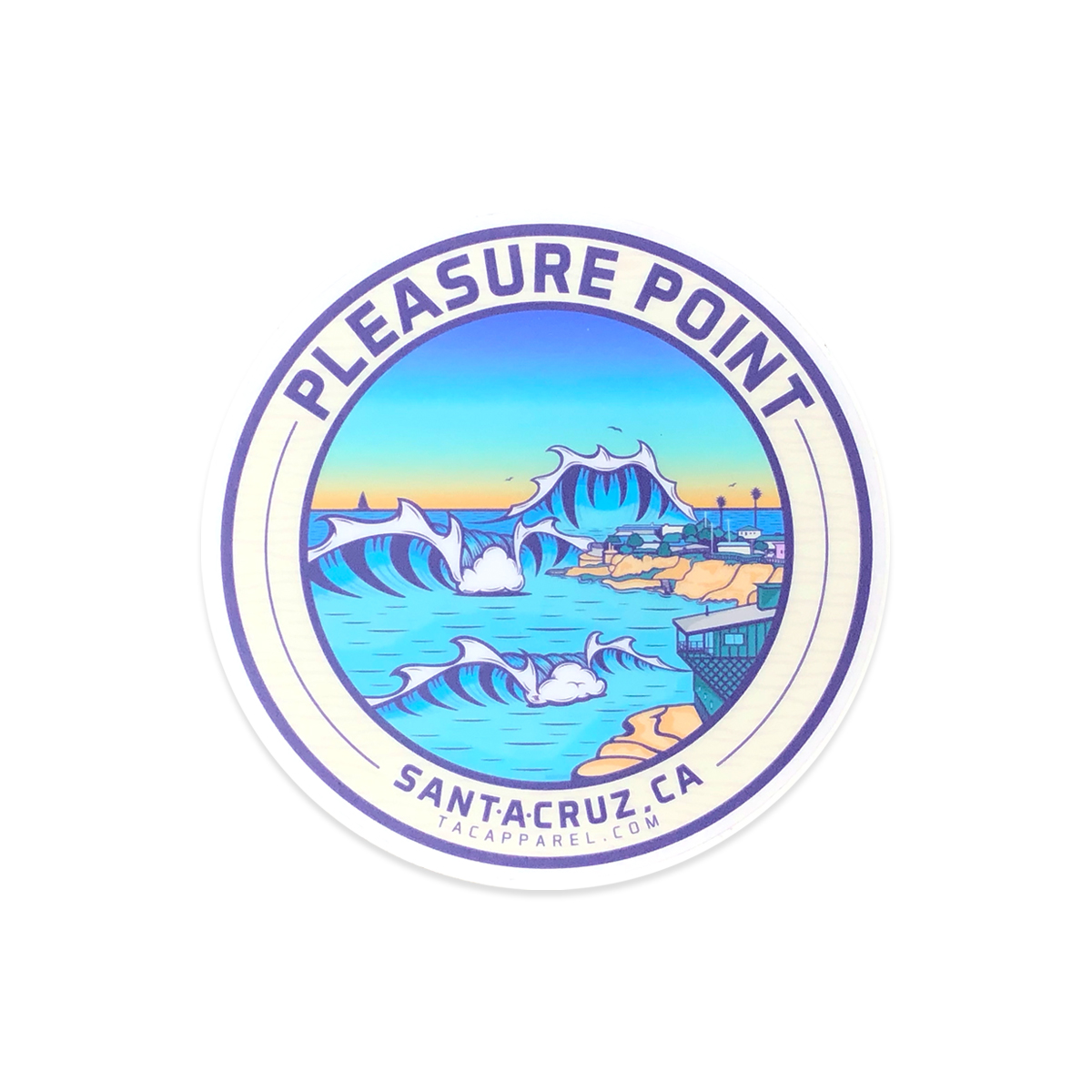 TAC Apparel Company Pleasure Point Santa Cruz Stickers