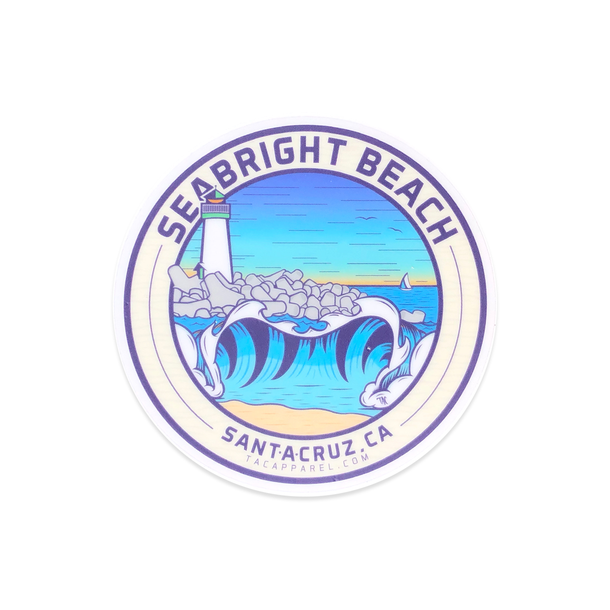 TAC Apparel Company Seabright Beach Santa Cruz Stickers