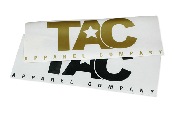 TAC apparel company die cut stickers