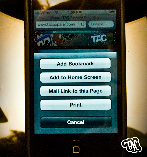 TAC Apparel Company - iPhone Homescreen